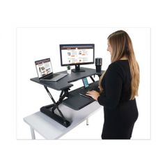 HIGH RISE HEIGHT ADJUSTABLE STANDING DESK WITH KEYBOARD TRAY, 36W X 31.25D X 20H, GRAY/BLACK
