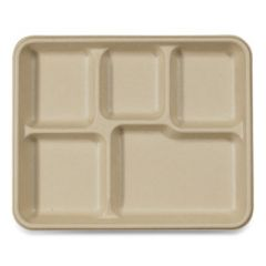 FIBER TRAYS, SCHOOL TRAY WITH FIVE-COMPARTMENTS, 10.5 X 8.5 X 1, NATURAL, 400/CARTON