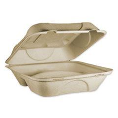 FIBER HINGED CONTAINERS, 3 COMPARTMENTS, 9 X 9 X 3, NATURAL, 300/CARTON