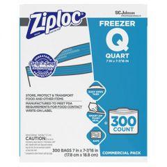"DOUBLE ZIPPER FREEZER BAGS, 1 QT, 2.7 MIL, 7"" X 7.75"", CLEAR, 300/CARTON"