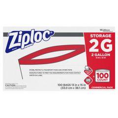 "DOUBLE ZIPPER STORAGE BAGS, 2 GAL, 1.75 MIL, 15"" X 13"", CLEAR, 100/CARTON"
