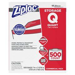 """DOUBLE ZIPPER STORAGE BAGS, 1 QT, 1.75 MIL, 7"""" X 7.75"""", CLEAR, 500/BOX"""