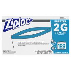 "DOUBLE ZIPPER FREEZER BAGS, 2 GAL, 2.7 MIL, 13"" X 15.5"", CLEAR, 100/CARTON"