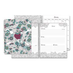 DOODLEPLAN WEEKLY/MONTHLY APPOINTMENT BOOK, 11 X 8.5, BOTANICA, 2021