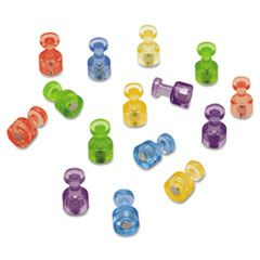 "Magnetic ""push Pins"", 3/4"" Dia, Assorted Colors, 20/pack"