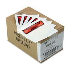 SELF-ADHESIVE PACKING LIST ENVELOPE, 4.5 X 5.5, CLEAR/ORANGE, 1,000/CARTON