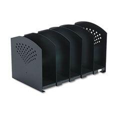 Five-Section Adjustable Book Rack, Steel, 15 1/4 X 9 X 9 1/4, Black