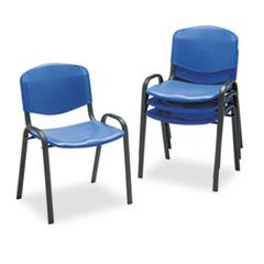 STACKING CHAIR, BLUE SEAT/BLUE BACK, BLACK BASE, 4/CARTON