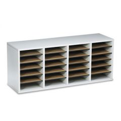 Wood/laminate Literature Sorter, 24 Sections, 39 1/4 X 11 3/4 X 16 3/8, Gray