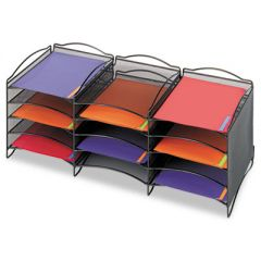 Onyx Steel Mesh Lliterature Sorter, 12 Compartments, Black