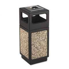 CANMELEON ASH/TRASH RECEPTACLE, SQUARE, AGGREGATE/POLYETHYLENE, 15 GAL, BLACK