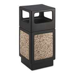CANMELEON SIDE-OPEN RECEPTACLE, SQUARE, AGGREGATE/POLYETHYLENE, 38 GAL, BLACK