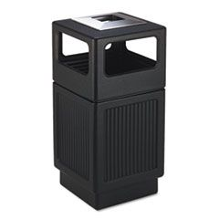 CANMELEON ASH/TRASH RECEPTACLE, SQUARE, POLYETHYLENE, 38 GAL, TEXTURED BLACK