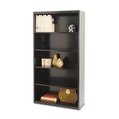 Metal Bookcase, Five-Shelf, 34-1/2w X 13-1/2d X 66h, Black