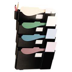 Grande Central Filing System, Four Pocket, Wall Mount, Plastic, Black