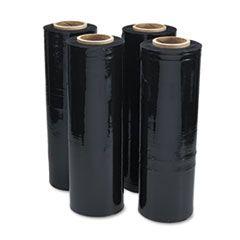 "Black Stretch Film, 18"" X 1, 500ft Roll, 20mic (80-Gauge), 4/carton"