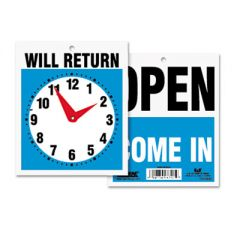 Double-Sided Open/will Return Sign W/clock Hands, Plastic, 7 1/2 X 9